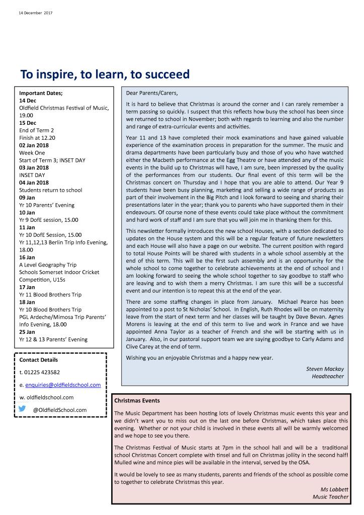 Outlook Newsletter 14.12.17