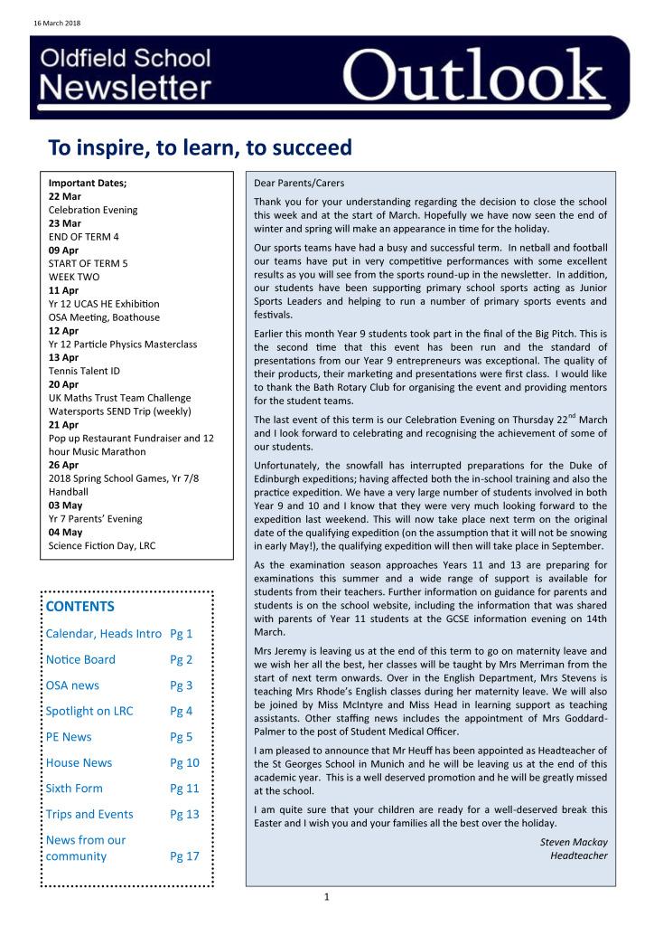 Outlook Newsletter 22.03.18