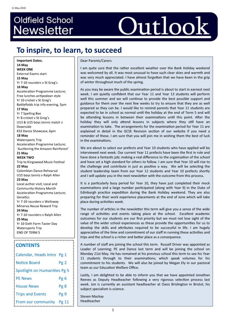 Outlook Newsletter 14.05.18