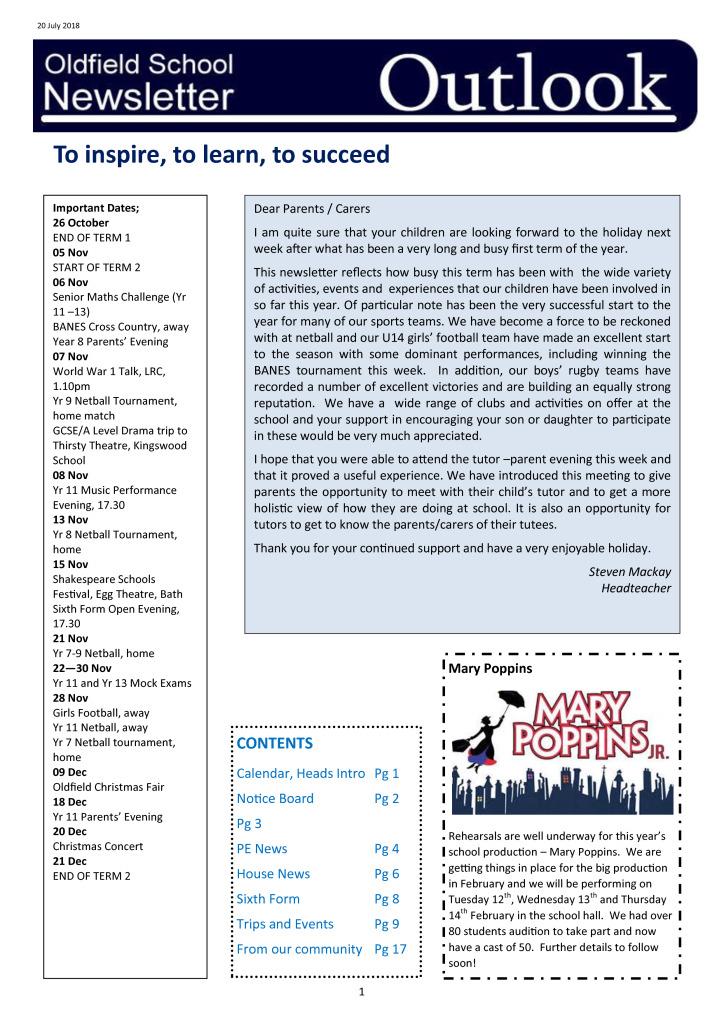 Oldfield School Newsletter 26.10.18