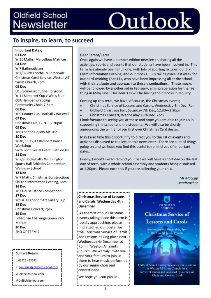 Oldfield School Newsletter 02.12.19