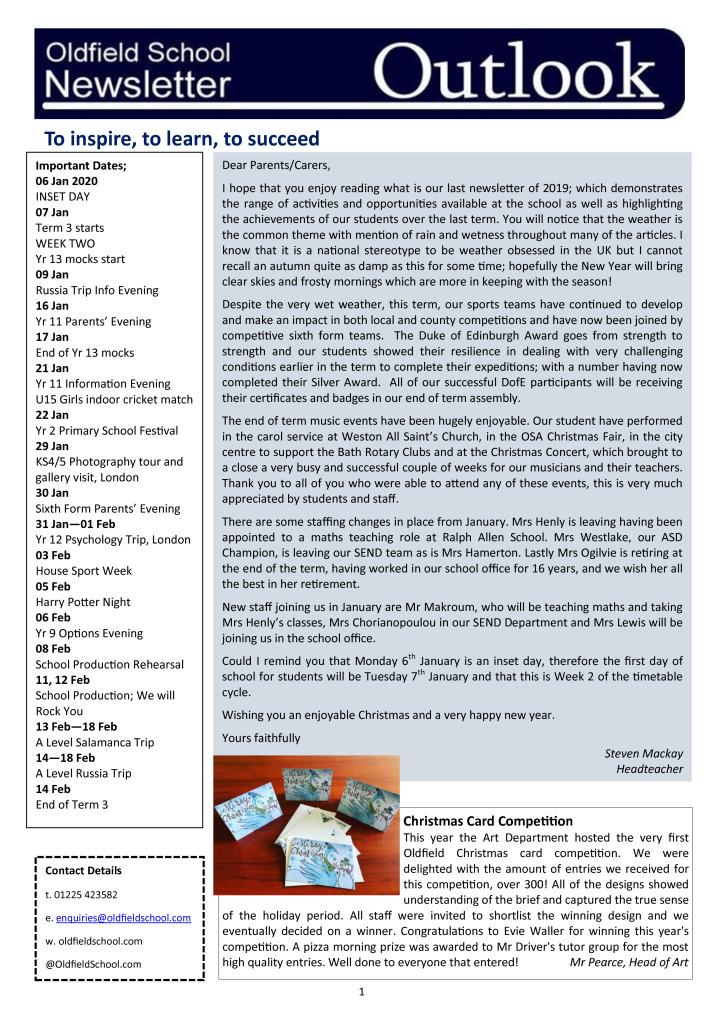 Oldfield School Newsletter 20.12.19