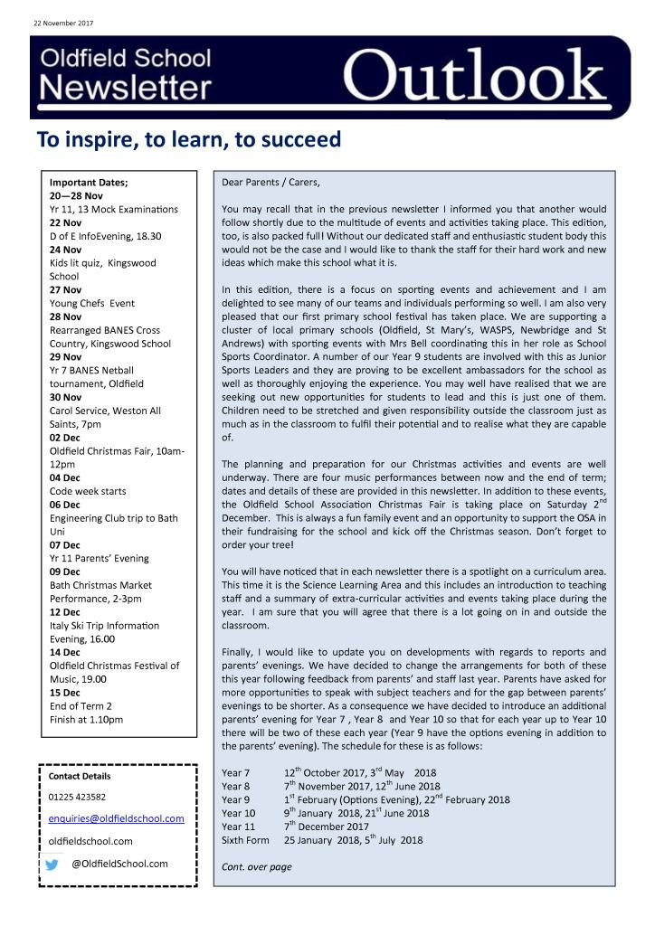 Outlook Newsletter 22.11.17
