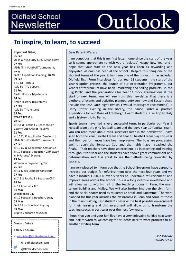 Outlook Newsletter 02.02.18