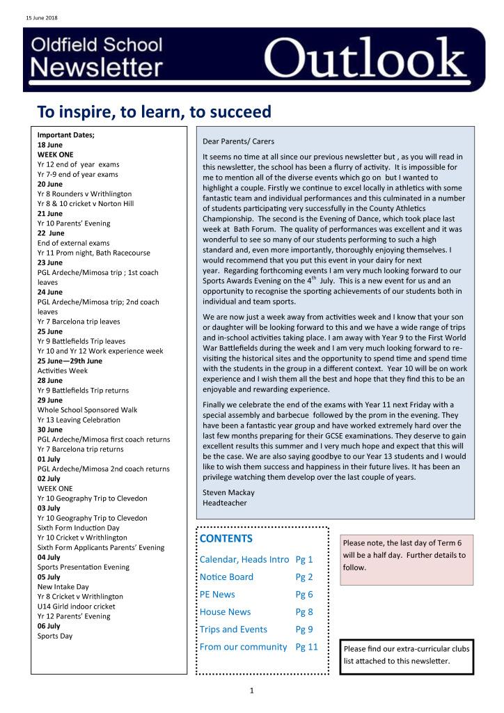 Outlook Newsletter 15.06.18