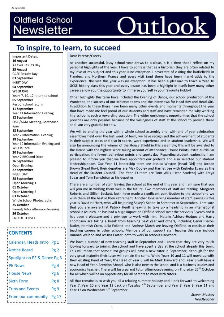Outlook Newsletter 20.07.18