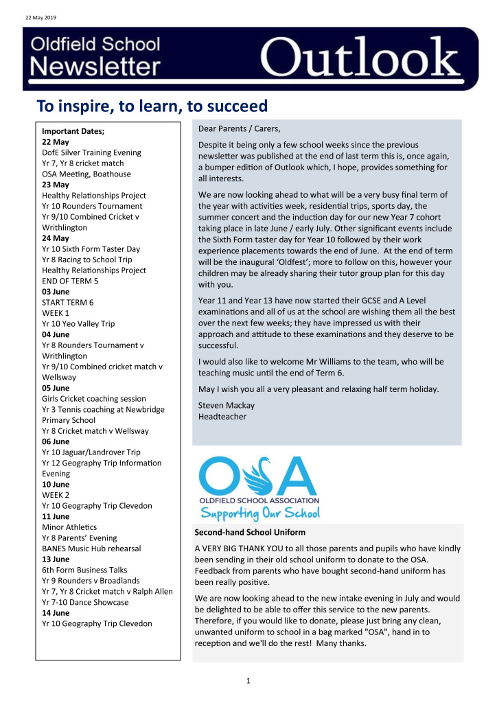 Oldfield School Newsletter 22.05.19