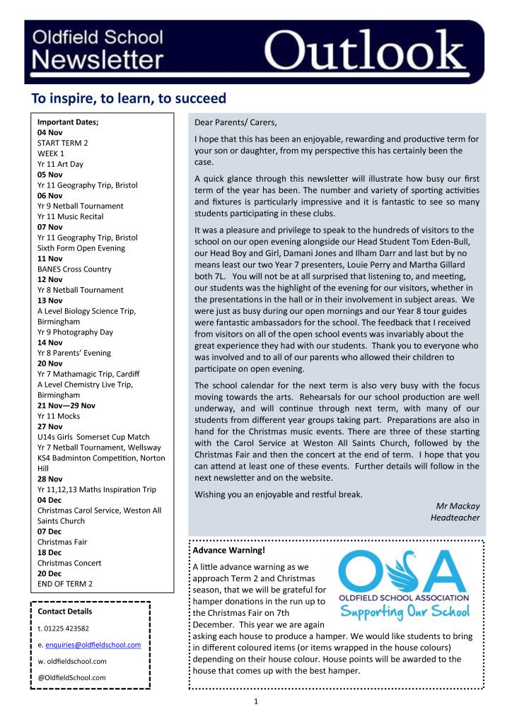 Oldfield School Newsletter 25.10.19