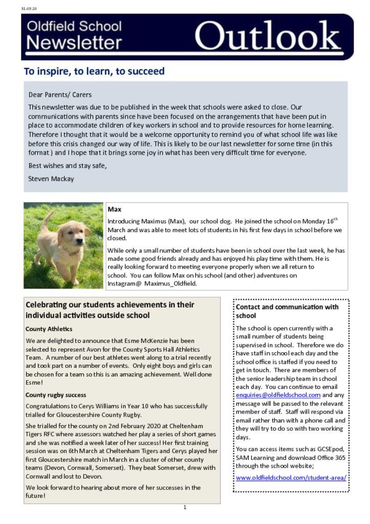 Oldfield School Newsletter 31.03.20