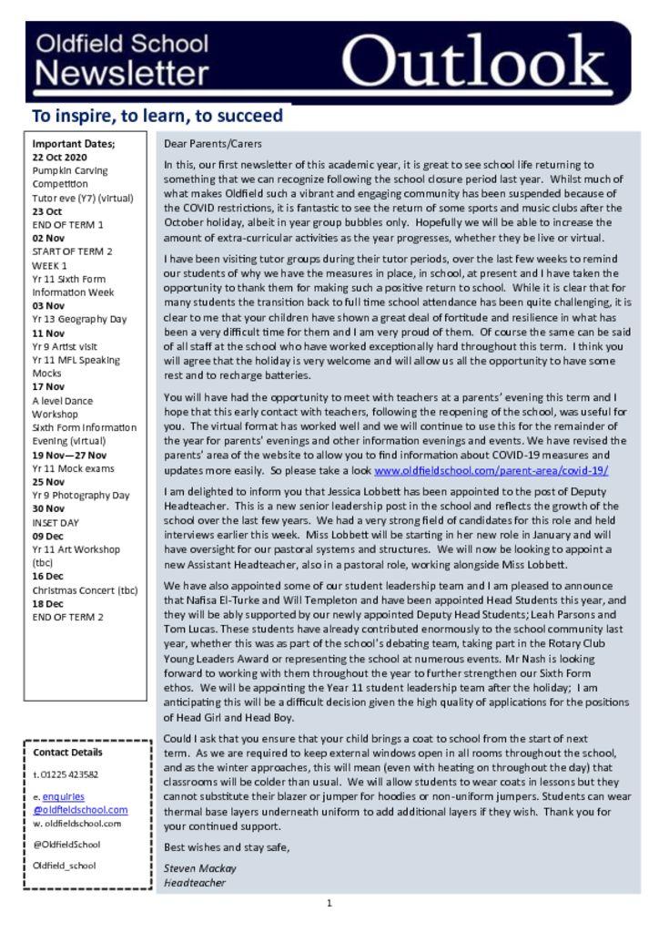 Oldfield School Newsletter 23.10.20