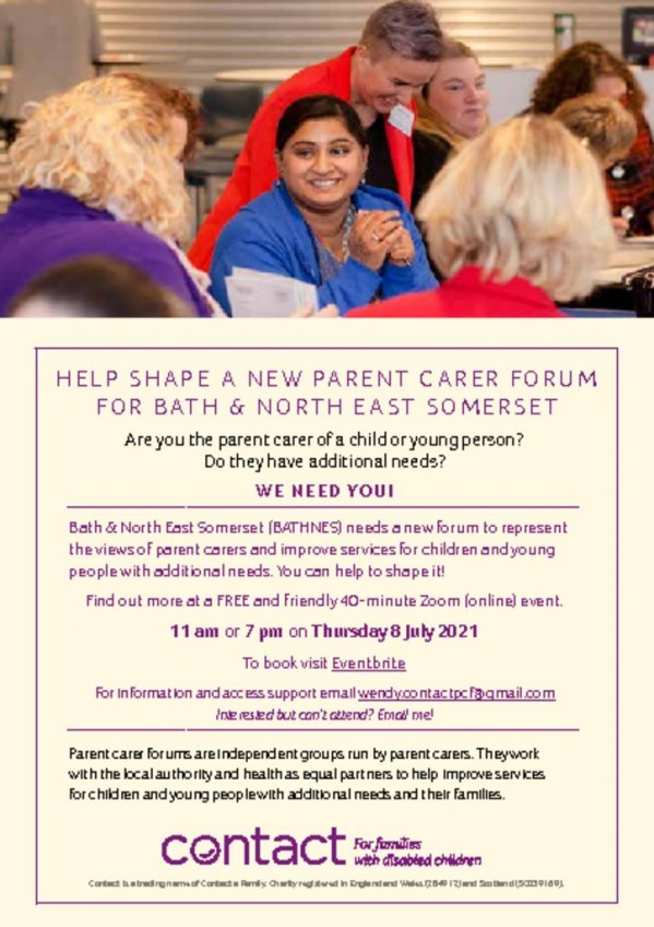thumbnail of Bath-and-NE-Somerset-flyer Parent Carer Forum Drop in sessions 8th July 2021